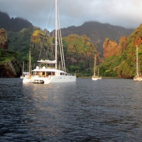 AMARA anchored in Fatu-Hiva