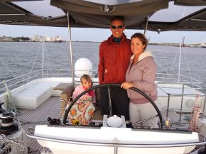 Martin and his family entering Brisbane Habor.