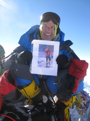 Taking a moment to remember his climbing partner, Steve Gasser