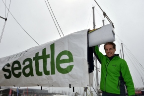 Martin aboard the Visit Seattle yacht at the Clipper Race stop in Qingdao, China