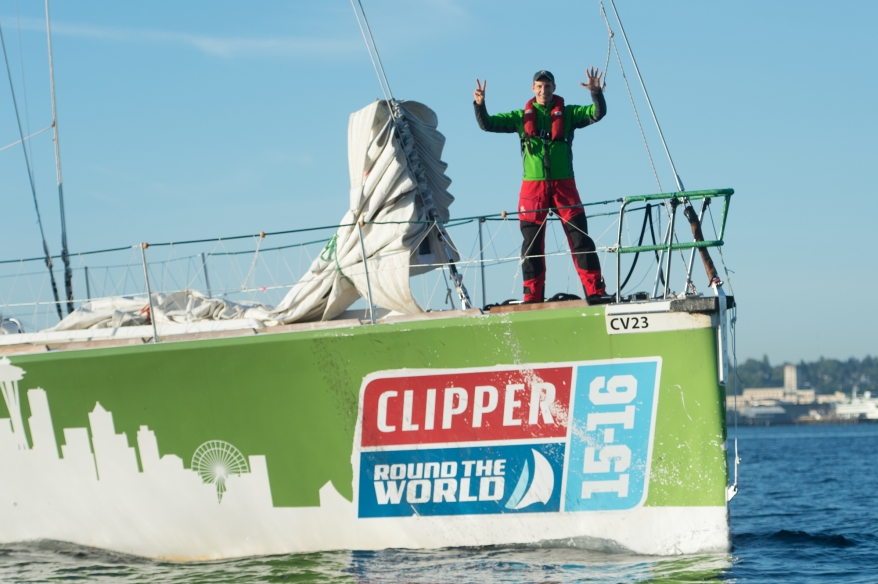 Martin celebrates the end of his epic Seven Summits/Seven Seas journey