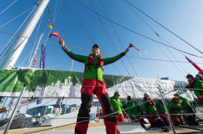Martin celebrates his arrival in Seattle after crossing the North Pacific